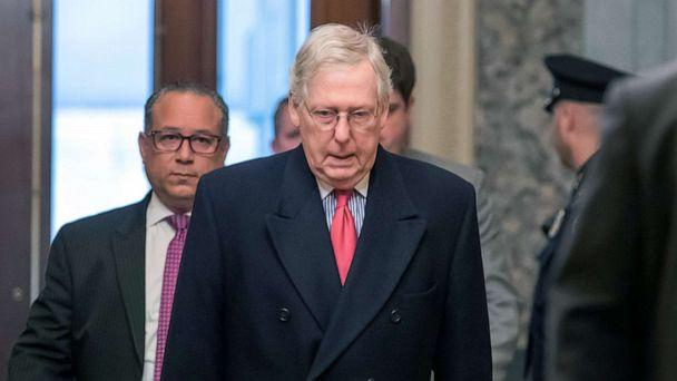 PHOTO: Senate Majority Leader Mitch McConnell arrives for work during the second week of the impeachment trial of President Donald Trump at the U.S. Capitol in Washington, Jan. 28, 2020. (Erik S Lesser/EPA via Shutterstock)
