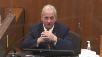 In this image from video, witness Lt. Richard Zimmerman of the Minneapolis Police Department, testifies as Hennepin County Judge Peter Cahill presides Friday, April 2, 2021, in the trial of former Minneapolis police Officer Derek Chauvin at the Hennepin County Courthouse in Minneapolis, Minn. Chauvin is charged in the May 25, 2020 death of George Floyd. (Court TV via AP, Pool)