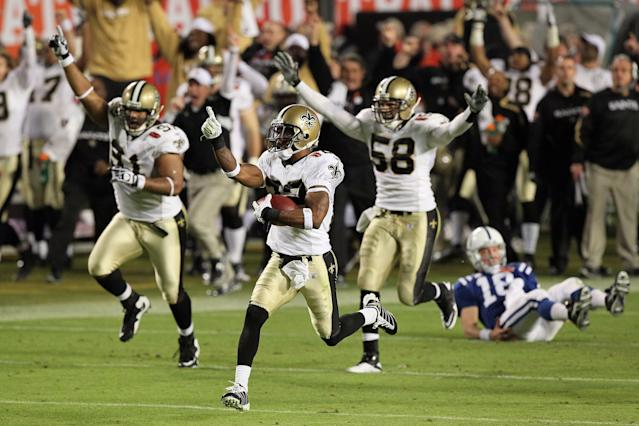 Tracy Porter's pick-six of Peyton Manning in Super Bowl XLIV clinched the victory for New Orleans. (Getty)