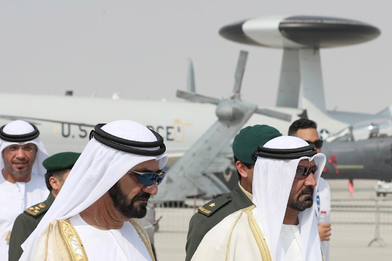 The ruler of Dubai, Sheikh Mohammed bin Rashid al-Maktoum (L), attends the Dubai Airshow on November 12, 2017, in the United Arab Emirates (AFP Photo/KARIM SAHIB)