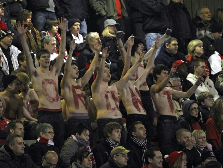 Leyton Orient fans at The Matchroom Stadium in London, England, on February 20, 2011