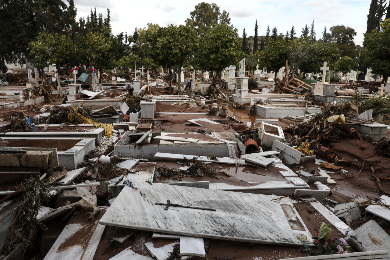 <p>A view of the damaged cemetery of Mandra town, west of Athens, Saturday, Nov. 18, 2017. (Photo: Yorgos Karahalis/AP) </p>