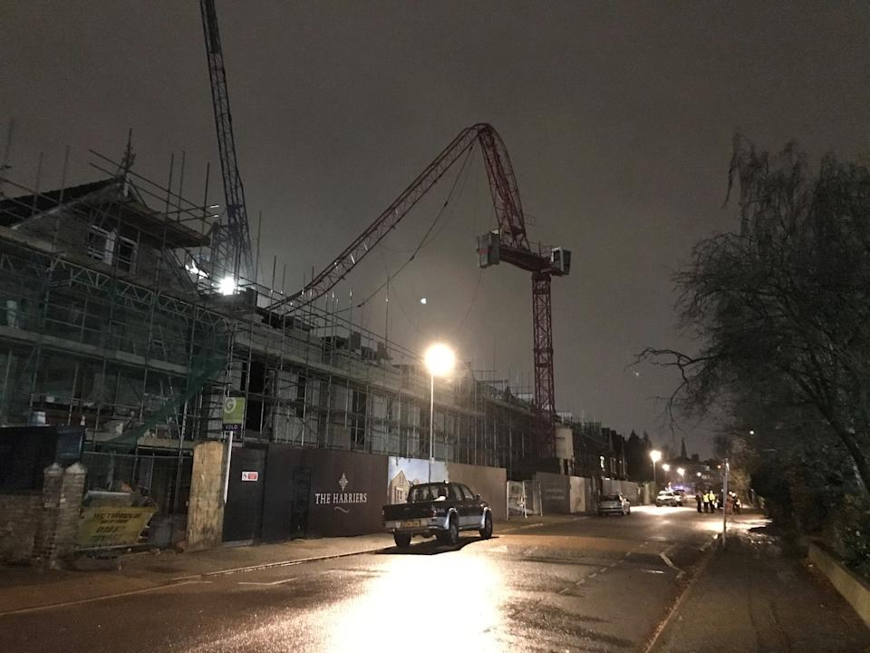 The scene at Fassett Road in south London, where a crane partially collapsed on a building site.