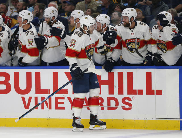 Florida Panthers forward Mike Hoffman (68) celebrates his goal during the third period of an NHL hockey game against the Buffalo Sabres, Friday, Oct. 11, 2019, in Buffalo, N.Y. (AP Photo/Jeffrey T. Barnes)