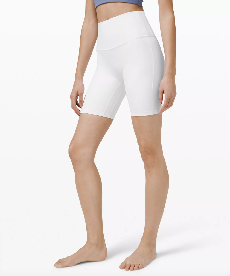 """<p><strong>Lululemon</strong></p><p>lululemon.com</p><p><strong>$68.00</strong></p><p><a href=""""https://go.redirectingat.com?id=74968X1596630&url=https%3A%2F%2Fshop.lululemon.com%2Fp%2Fwomen-shorts%2FAlign-Short-8%2F_%2Fprod9900029&sref=https%3A%2F%2Fwww.townandcountrymag.com%2Fsociety%2Ftradition%2Fg37681411%2Fprincess-diana-sweatshirt-biker-shorts-outfit-inspiration%2F"""" rel=""""nofollow noopener"""" target=""""_blank"""" data-ylk=""""slk:Shop Now"""" class=""""link rapid-noclick-resp"""">Shop Now</a></p><p>When shopping for white spandex shorts, quality is key (you don't want any sheerness issues). Lululemon's Align shorts are sure to provide acceptable opacity. </p>"""