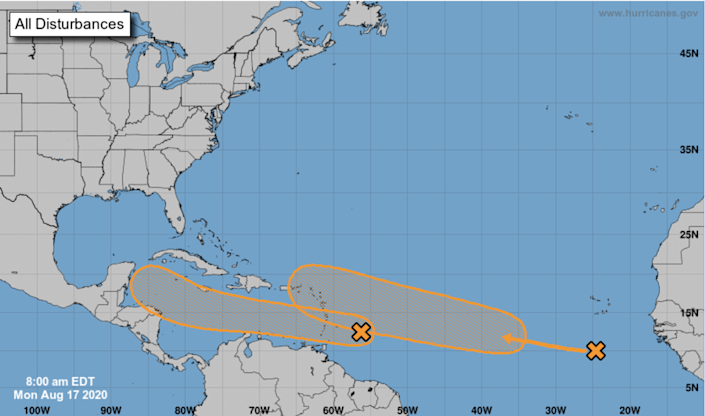 One of the tropical waves is moving quickly westward at about 20 mph toward the Windward Islands, and is continuing to produce disorganized showers and thunderstorms, according to the National Hurricane Center. The other disturbance is in the eastern tropical Atlantic to the south-southwest of the Cabo Verde Islands.