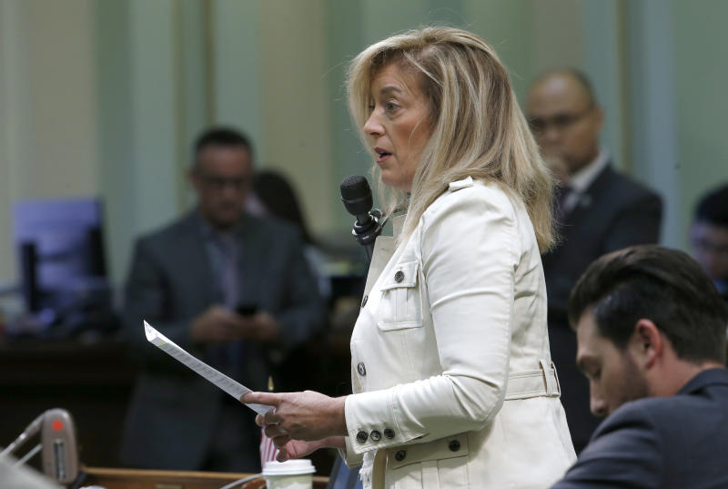 Assembly Republican Leader Marie Waldron, of Escondido, urges lawmakers to reject a measure to give new wage and benefit protections at the so-called gig economy companies like Uber and Lyft, during the Assembly session in Sacramento, Calif., Wednesday, Sept. 11, 2019. The bill AB5, by Assemblywoman Lorenza Gonzalez, D-San Diego, was approved and now goes to the governor, who has said he supports it. (AP Photo/Rich Pedroncelli)
