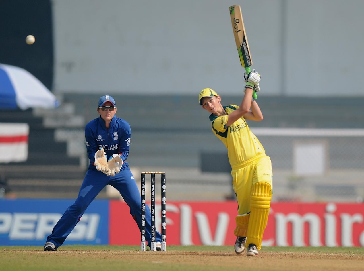 MUMBAI, INDIA - FEBRUARY 08:  Jilie Hunter of Australia bats during the super six match  between England and Australia held at the CCI (Cricket Club of India)  on February 8, 2013 in Mumbai, India.  (Photo by Pal Pillai/Getty Images)
