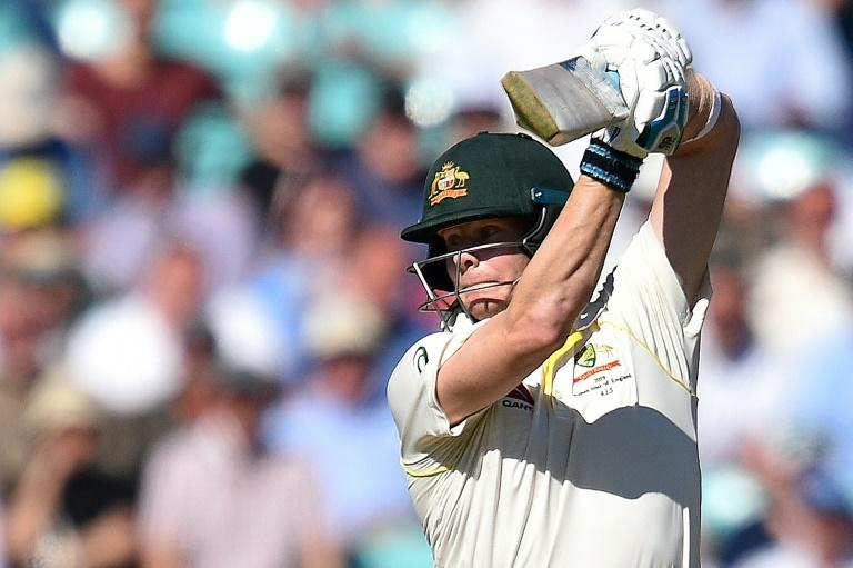 Australia's Steve Smith bats on the second day of the fifth Ashes Test against England