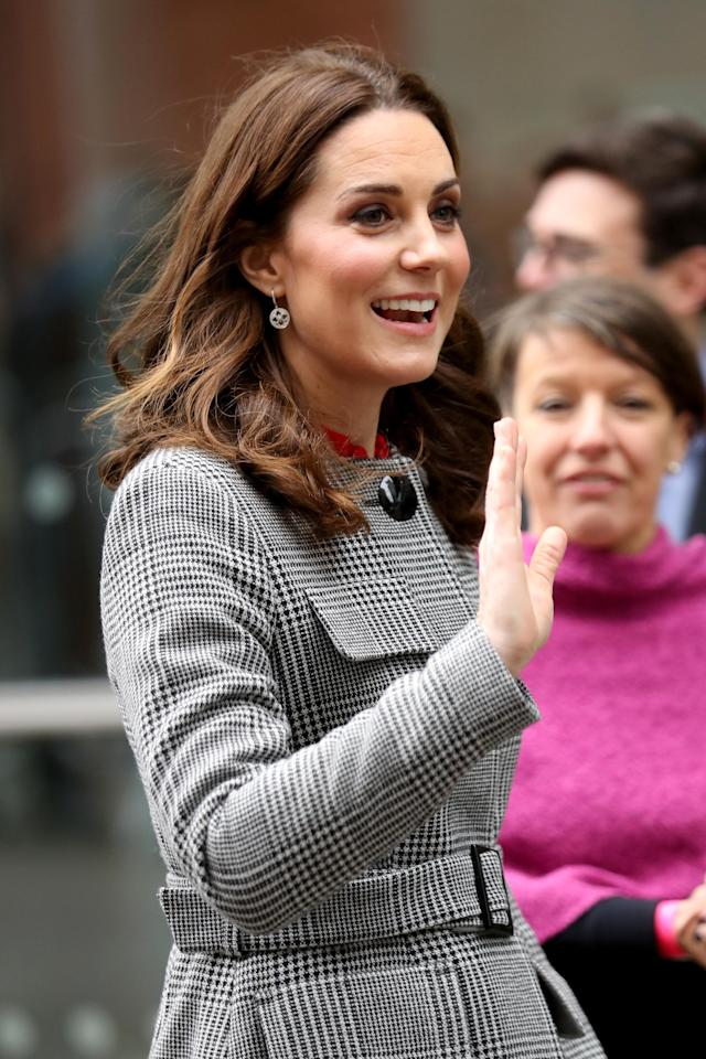 The Duchess wore a $660 coat from L.K.Bennett. (Photo: Getty Images)