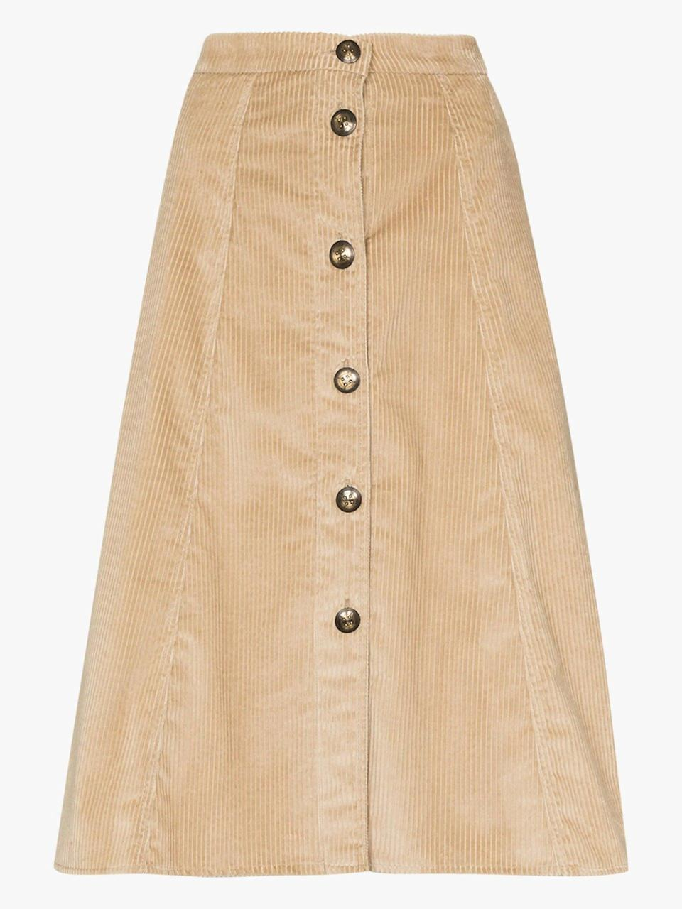 """<br><br><strong>Etro</strong> Corduroy Button Midi Skirt, $, available at <a href=""""https://www.brownsfashion.com/uk/shopping/etro-corduroy-button-midi-skirt-15271324"""" rel=""""nofollow noopener"""" target=""""_blank"""" data-ylk=""""slk:Browns"""" class=""""link rapid-noclick-resp"""">Browns</a>"""
