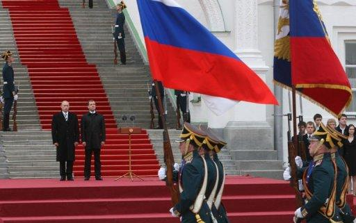 A file picture taken on May 7, 2008, shows Russia's President Dmitry Medvedev and his predecessor Vladimir Putin attending inauguration festivities at the Kremlin in Moscow. When Putin returns to the presidency on May 7, post-Soviet Russia is set to remember Medvedev as a man whose biggest achievement was keeping the Kremlin seat warm for Putin