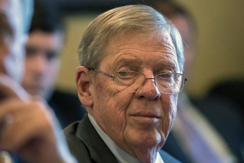 FILE - In this Feb. 14, 2019 photo, Sen. Johnny Isakson, R-Ga., leads a meeting on Capitol Hill in Washington. Republican Sen. Johnny Isakson of Georgia announced on Wednesday, Aug. 28, 2019, that he will retire at the end of 2019, citing 'health challenges'. (AP Photo/J. Scott Applewhite, File)