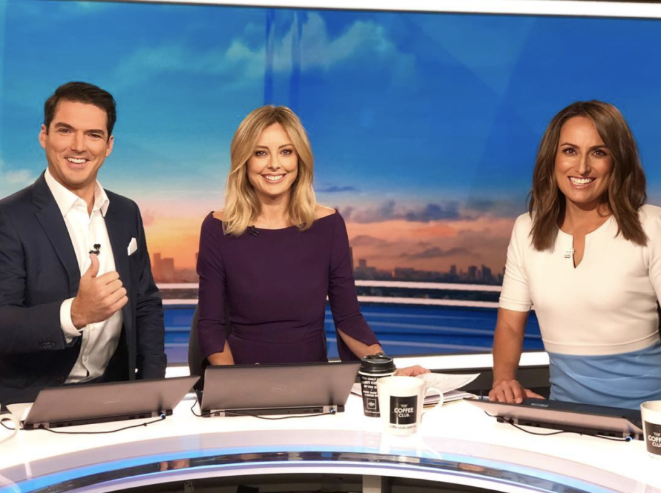 Allison with her Weekend Today co-hosts, newsreader Tom Steinfort and entertainment reporter Brooke Boney. Photo: Channel Nine.