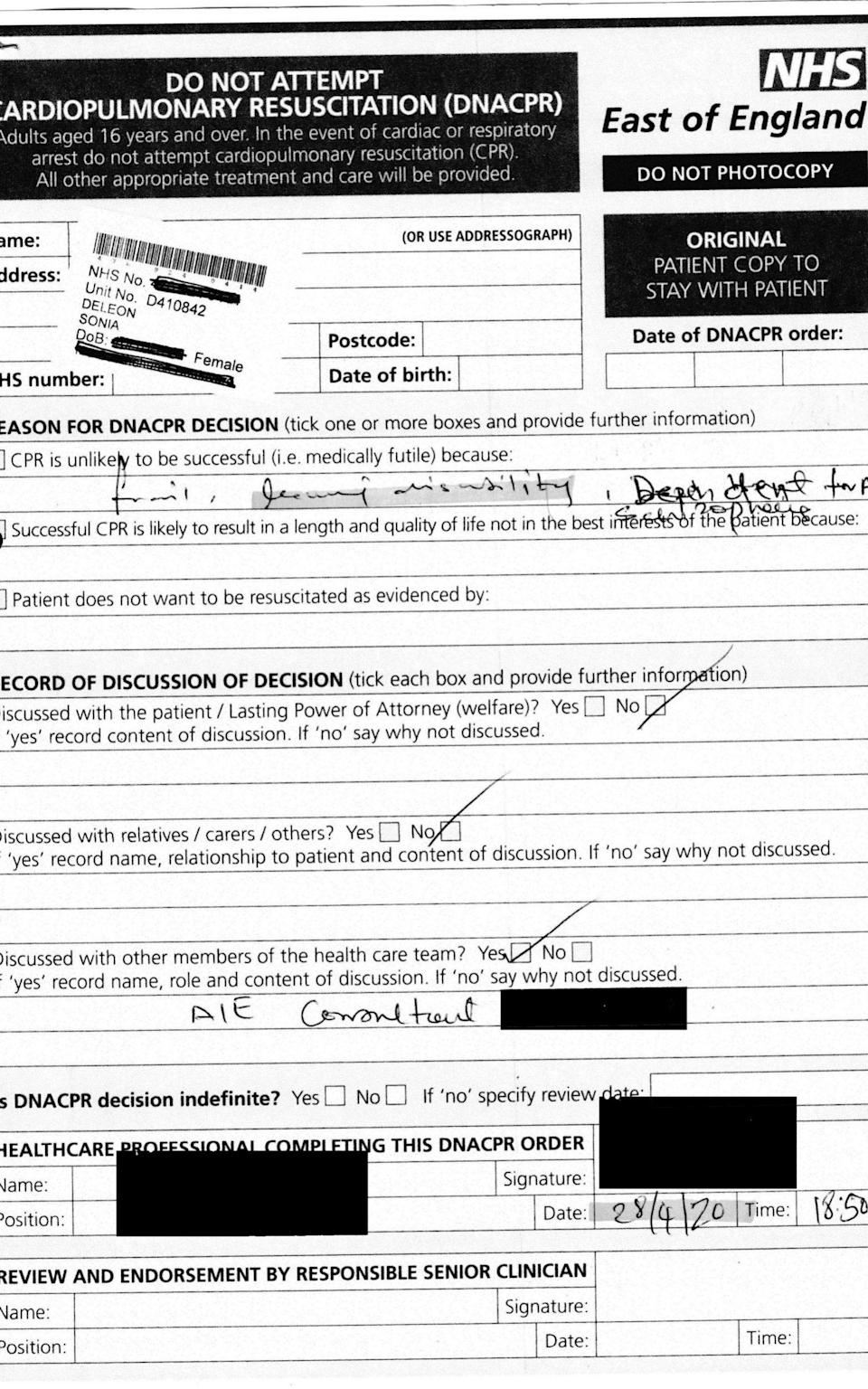 DNACPR form