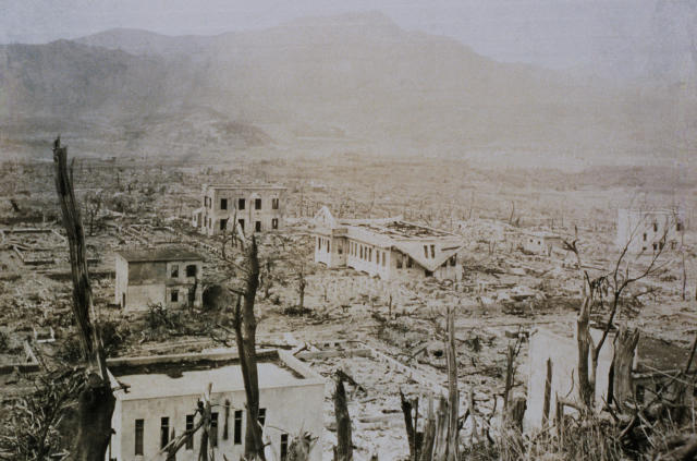 <p>The hospital at Nagasaki Medical College, located only 800 meters from ground zero, was destroyed when the United States dropped an atomic bomb on the city at the end of World War II on Aug. 9. 1945. Only the reinforced concrete buildings remain standing. (Photo: Corbis via Getty Images) </p>