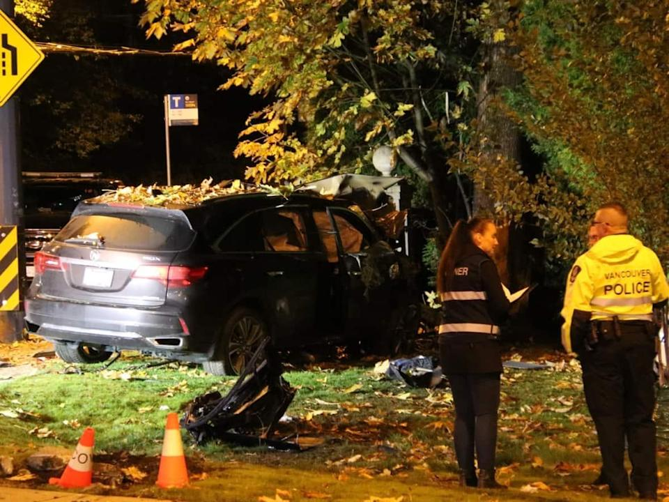 One person died Sunday night in a crash at West 4th Avenue and NW Marine Drive in Vancouver. (Ryan Stelting/CBC - image credit)