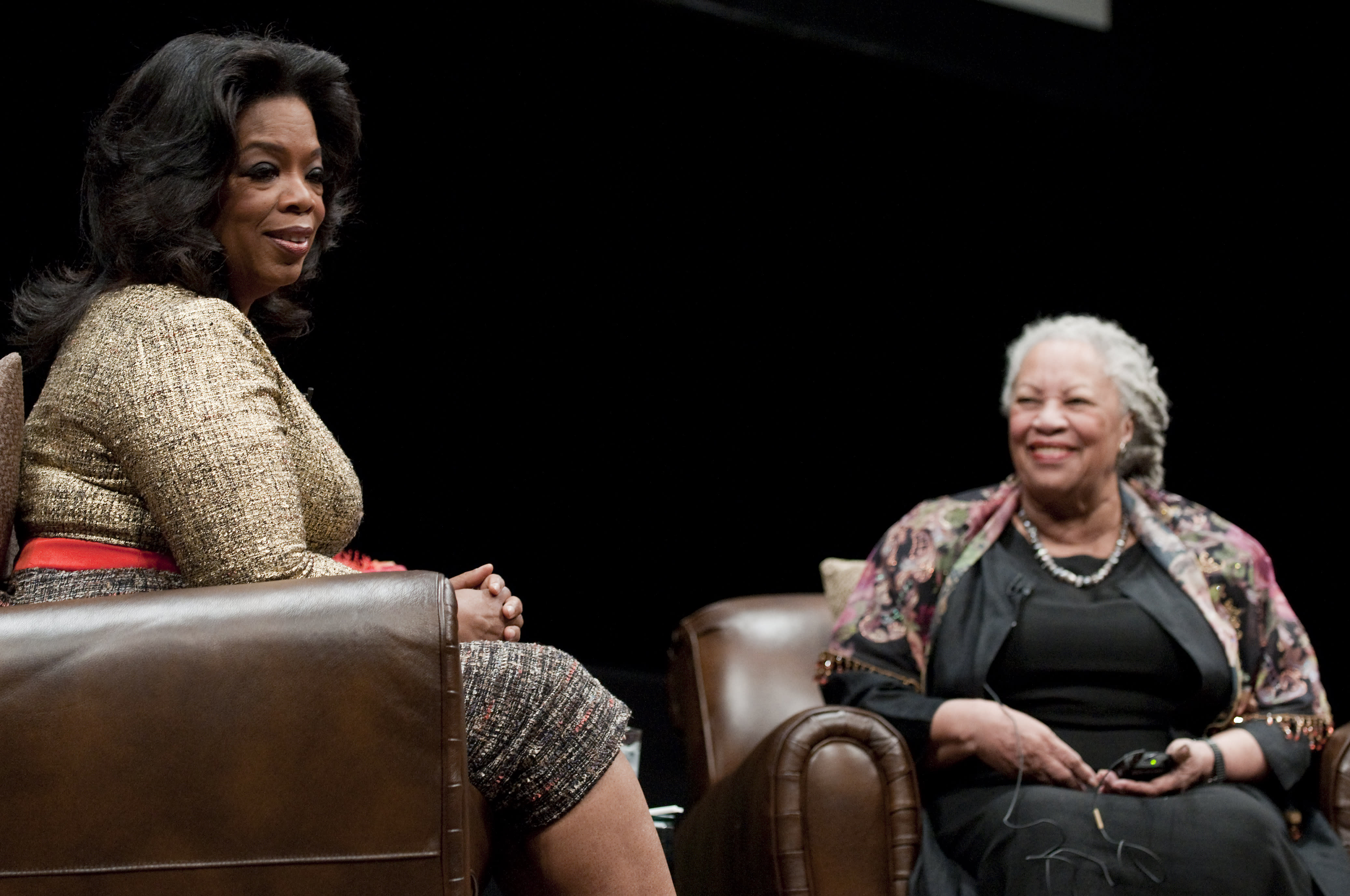 CHICAGO - OCTOBER 20: Oprah Winfrey and Toni Morrison attend the Carl Sandburg literary awards dinner at the University of Illinois at Chicago Forum on October 20, 2010 in Chicago, Illinois. (Photo by Daniel Boczarski/FilmMagic)