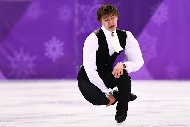 <p>Latvia's Deniss Vasiljevs competes in the men's single skating short program of the figure skating event during the Pyeongchang 2018 Winter Olympic Games at the Gangneung Ice Arena in Gangneung on February 16, 2018. / AFP PHOTO / ARIS MESSINIS </p>