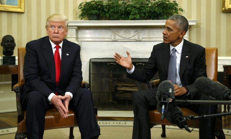 Obama meets with then-President-elect Donald Trump to discuss transition plans at the White House, Nov. 10, 2016. (Kevin Lamarque/Reuters)