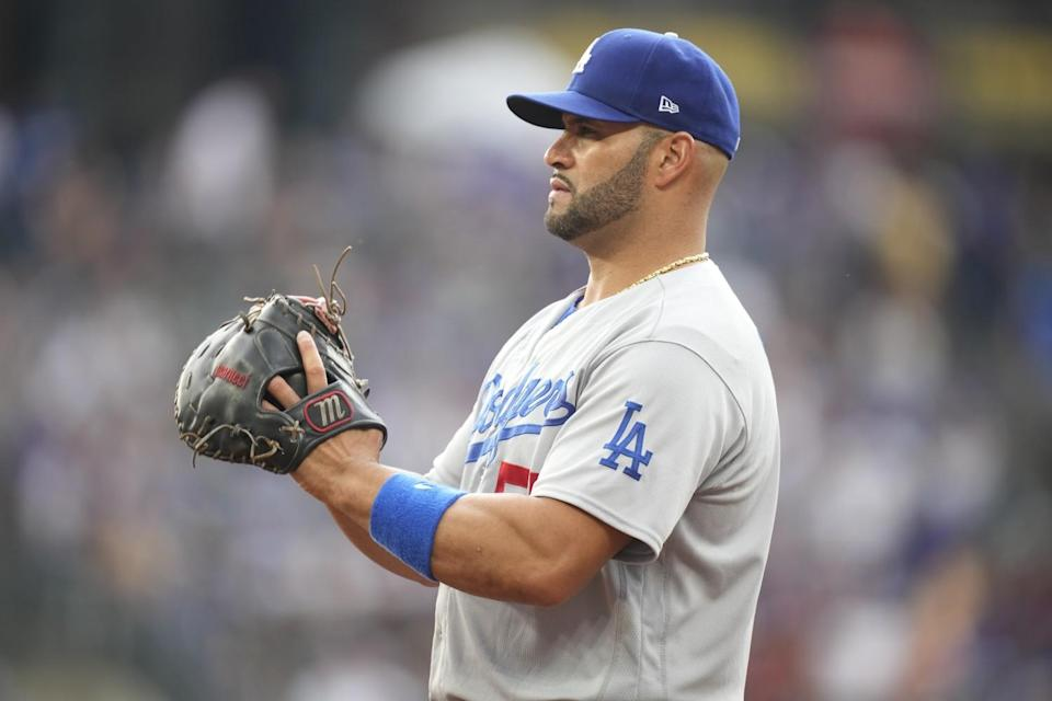 Dodgers first baseman Albert Pujols looks on during a game against the Colorado Rockies on July 17.