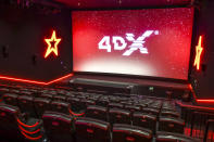 <p>4DX, only available at Cineworld in the UK, is an innovative cinematic technology which uses high-tech motion seats and special effects to stimulate all five senses. (Cineworld) </p>