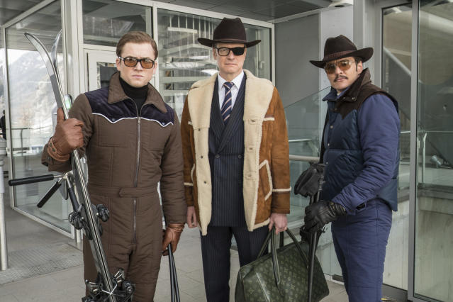 From left: Taron Egerton, Colin Firth, and Pedro Pascal in <em>Kingsman: The Golden Circle</em>. (Photo: Giles Keyte/20th Century Fox)
