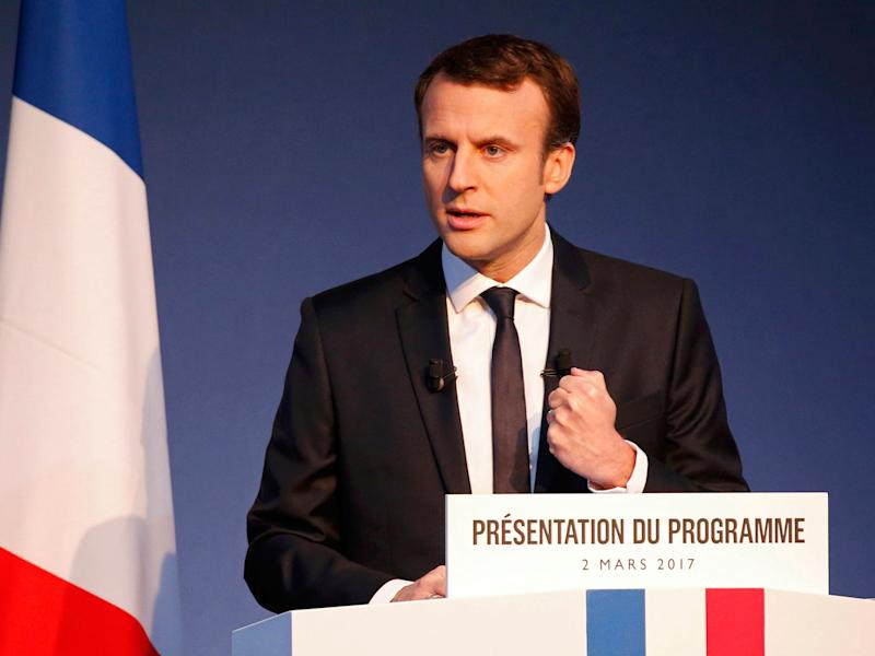 Emmanuel Macron unveils his election manifesto in Paris on 2 March: Reuters