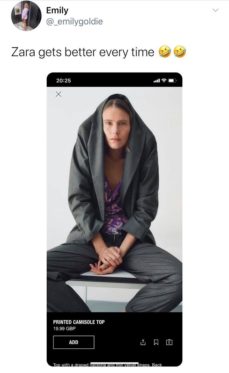 Twitter user @_emilygoldie post about Zara's baffling product shot quickly went viral. Photo: Twitter