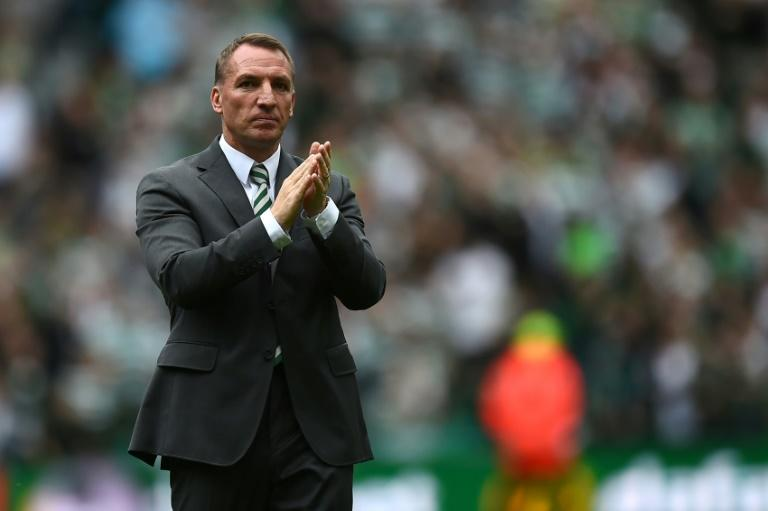 Celtic's Northern Irish manager Brendan Rodgers, pictured September 2, 2018, was unhappy with the referee's decision to show French midfielder Ntcham a second yellow card for a tackle in the 36th minute