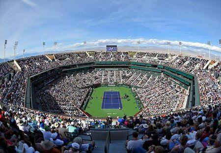 Mar 12, 2018; Indian Wells, CA, USA; General view of Stadium 1 during the third round match between Roger Federer and Filip Krajinovic in the BNP Paribas Open at the Indian Wells Tennis Garden. Mandatory Credit: Jayne Kamin-Oncea-USA TODAY Sports