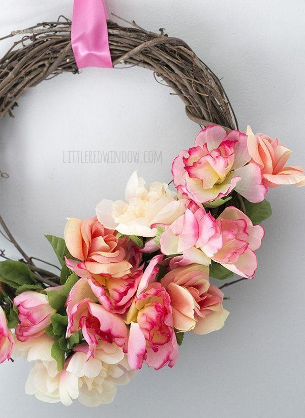 "<p>Put this stunning wreath together with materials you can pick up at the dollar store for a decoration easy on your wallet.</p><p><strong>Get the tutorial at <a href=""https://littleredwindow.com/diy-spring-flower-dollar-store-wreath/"" rel=""nofollow noopener"" target=""_blank"" data-ylk=""slk:Little Red Window"" class=""link rapid-noclick-resp"">Little Red Window</a>.</strong></p><p><strong><a class=""link rapid-noclick-resp"" href=""https://www.amazon.com/VATIN-Double-Polyester-Ribbon-Champange/dp/B07548Y7F3/?tag=syn-yahoo-20&ascsubtag=%5Bartid%7C10050.g.4395%5Bsrc%7Cyahoo-us"" rel=""nofollow noopener"" target=""_blank"" data-ylk=""slk:SHOP RIBBON"">SHOP RIBBON</a><br></strong></p>"