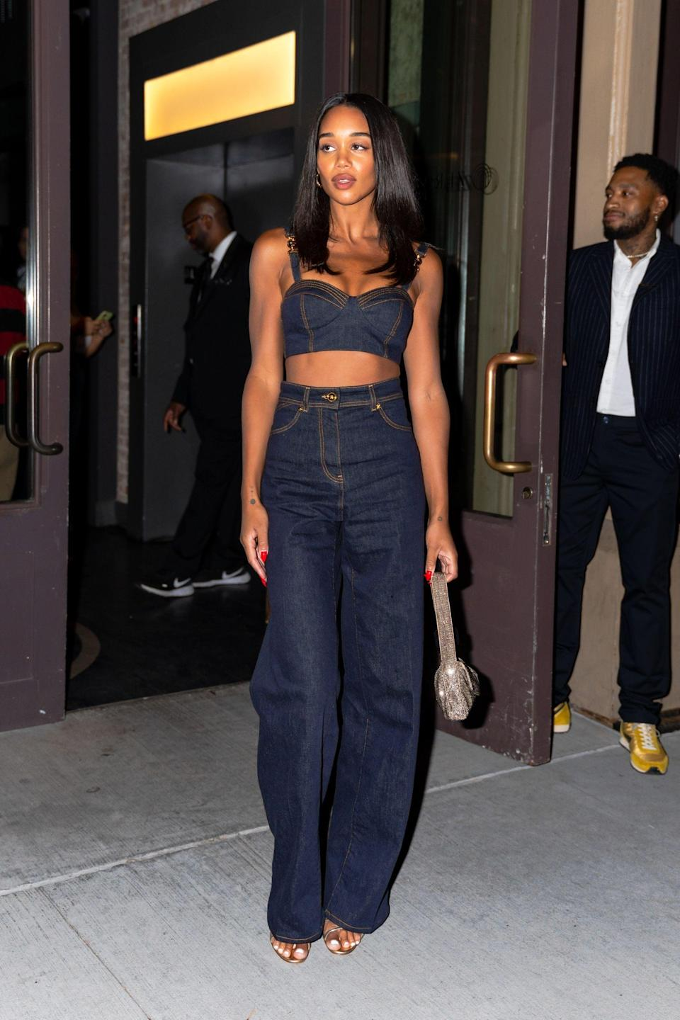 <p>Laura Harrier made us rethink our fall denim look with this chic matching set.</p>