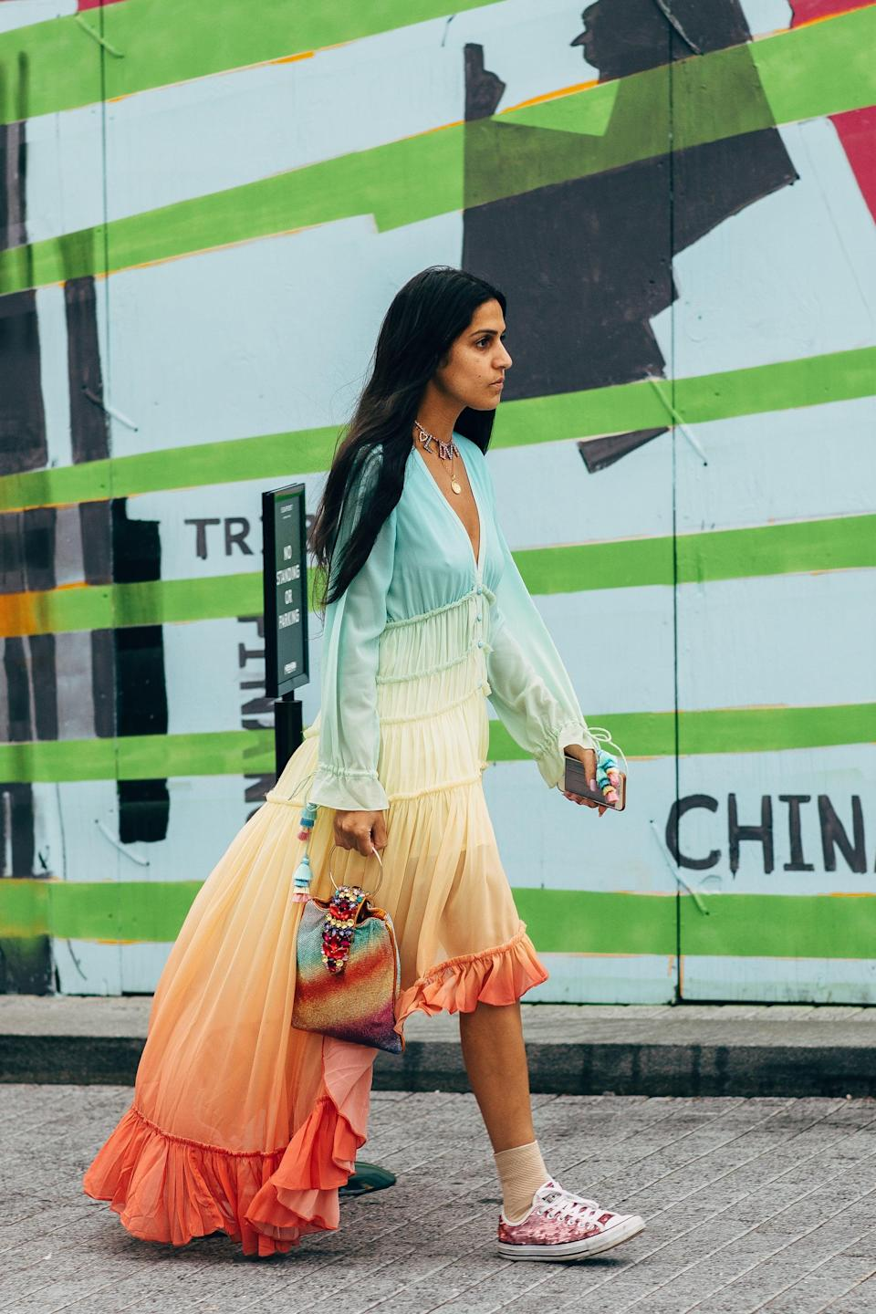<p>An ombre rainbow-hued dress seems made for summer, no?</p>
