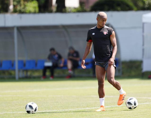 Soccer Football - World Cup - Peru Training - Bolshoy, Sochi, Russia - June 25, 2018 Peru's Andre Carrillo during training REUTERS/Francois Lenoir