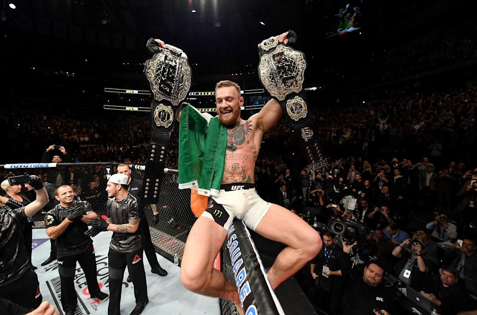 Conor McGregor of Ireland celebrates his KO victory over Eddie Alvarez of the United States in their lightweight championship bout during the UFC 205 event at Madison Square Garden on Nov. 12, 2016 in New York City. (Getty Images)