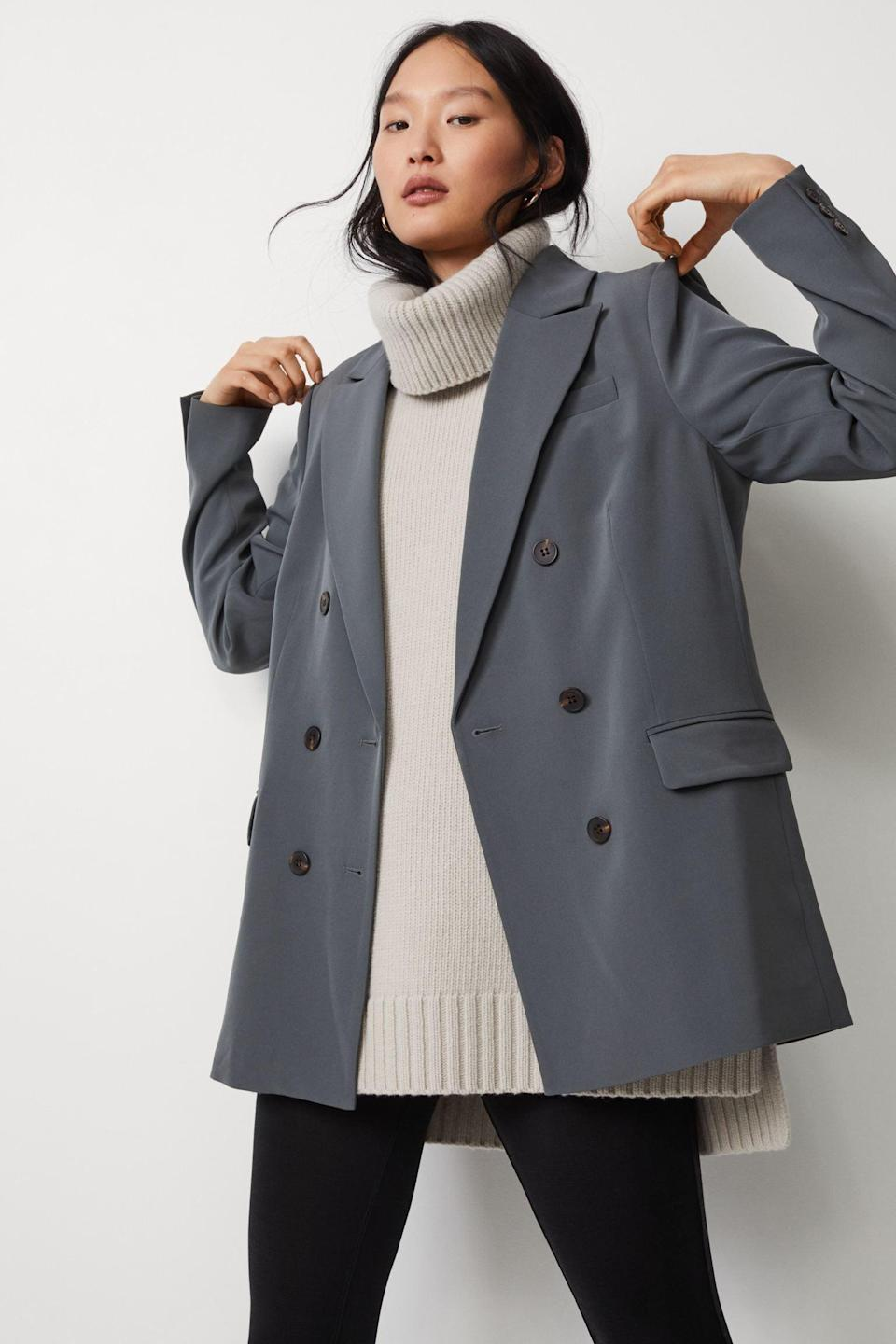 <p>This luxe-looking <span>Double-breasted Jacket</span> ($50) will make you feel in control. Pair it with a thick turtleneck for a power look.</p>