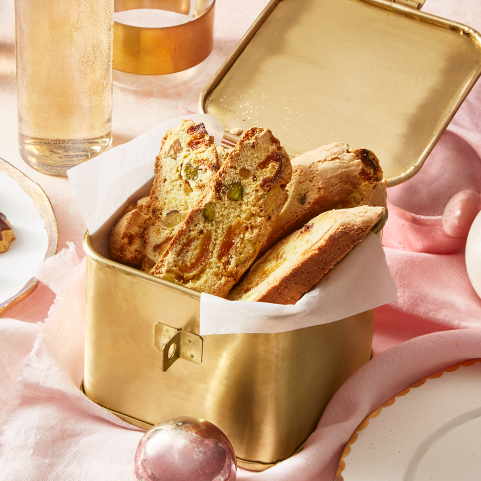 """<p>No, biscotti usually aren't healthy. But trust us: These ones are. Each cookie, loaded with pistachios and dried apricots, has only 45 calories, making them perfect for snacking. They taste even better dipped into a hot cup of coffee.</p><p><strong><em><a href=""""https://www.prevention.com/food-nutrition/recipes/a25620560/apricot-pistachio-biscotti-recipe/"""" rel=""""nofollow noopener"""" target=""""_blank"""" data-ylk=""""slk:Get the recipe »"""" class=""""link rapid-noclick-resp"""">Get the recipe »</a></em></strong></p>"""