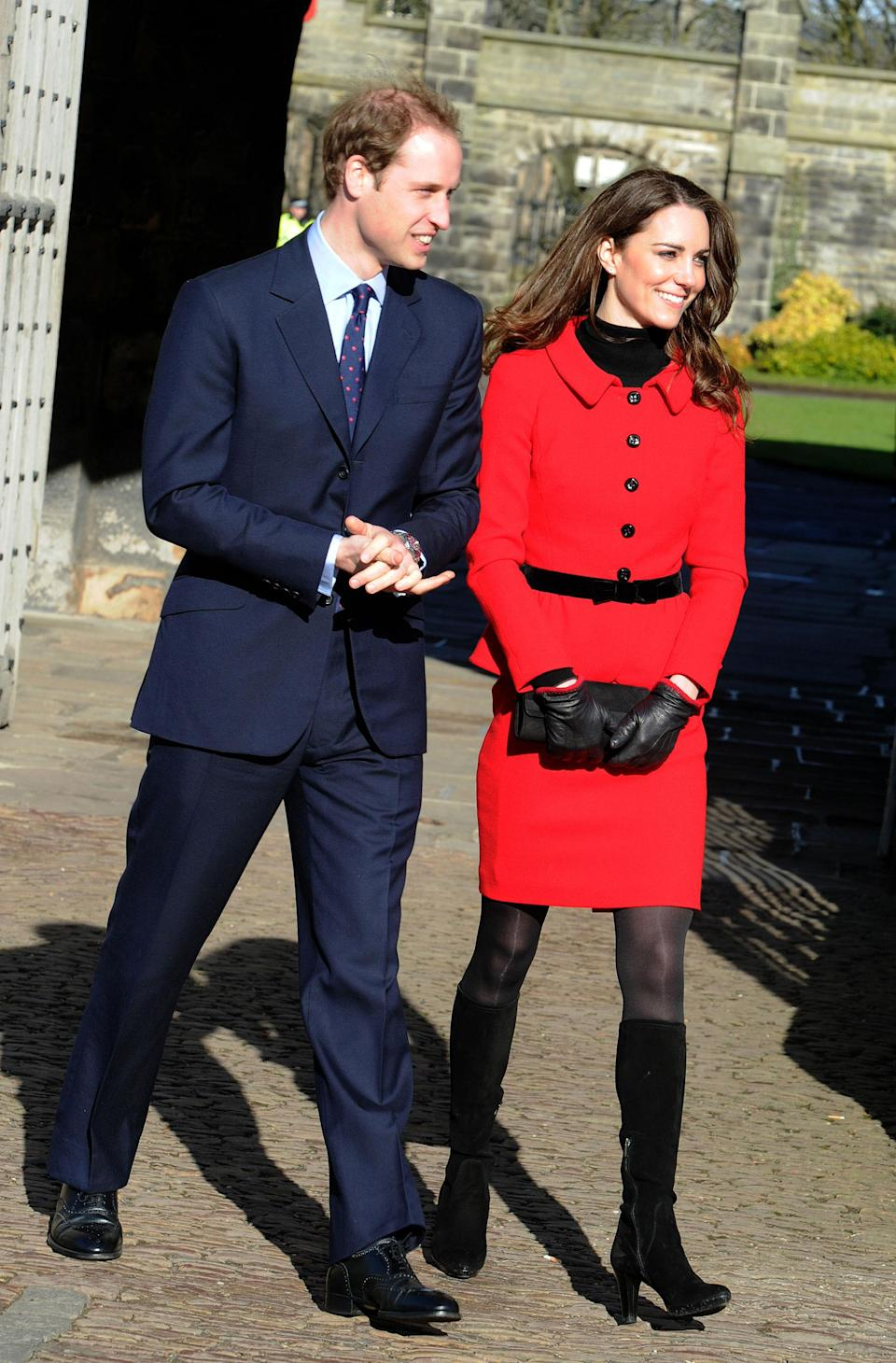 <p><b>When:</b> February 6, 2017 <b>Where:</b> <span>A visit to a London school with Prince William</span> <b>Wearing: </b>A Luisa Spagnoli red suit <b> Get the Look for Less: </b>Tahari Arthur S. Levine Splitneck Jacket and Skirt Suit Set, $84; <span>lordandtaylor.com</span></p>