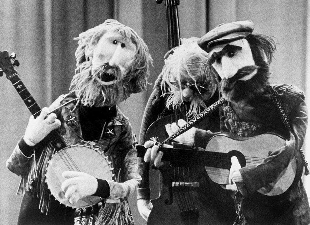 Muppet versions of puppeteers known as 'The Country Trio' Jim Henson, Frank Oz, Jerry Nelson