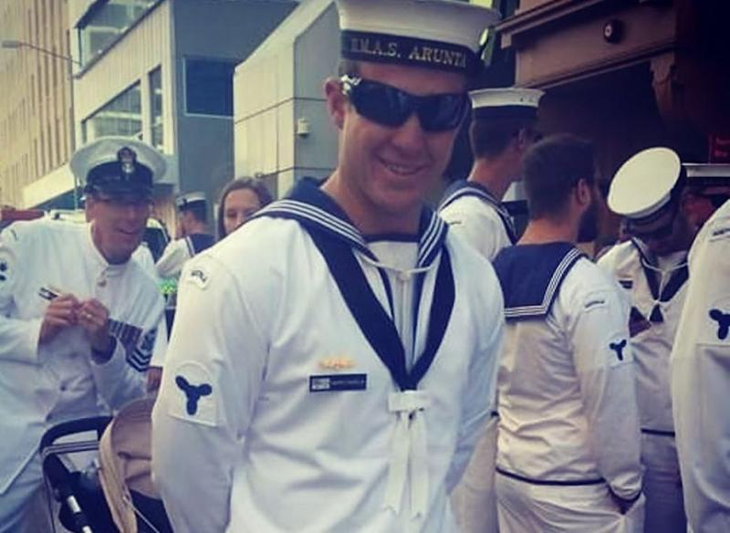 Picture of Mark Daniels in his Navy uniform before the accident
