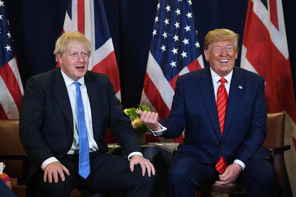 TOPSHOT - US President Donald Trump and British Prime Minister Boris Johnson hold a meeting at UN Headquarters in New York, September 24, 2019, on the sidelines of the United Nations General Assembly. (Photo by SAUL LOEB / AFP)        (Photo credit should read SAUL LOEB/AFP/Getty Images)