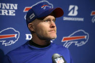 FILE - In this Dec. 21, 2019, file photo, Buffalo Bills head coach Sean McDermott speaks to the media following an NFL football game against the New England Patriots in Foxborough, Mass. The team that appears closest to overtaking New England is the Bills, who went 10-7 last season, their best since 1999. They have a sense of stability for a change with Sean McDermott entering his fourth year as coach, and they're especially eager to embrace this new era in the AFC East after going 3-32 against Tom Brady. (AP Photo/Steven Senne, File)