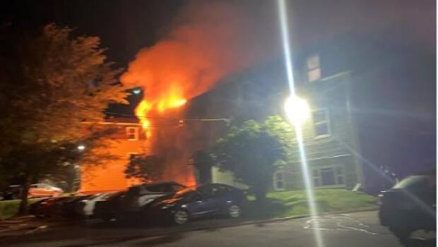 Crews were called to the building at 3:15 a.m., June 24. (Submitted by Pavneet Kaur - image credit)