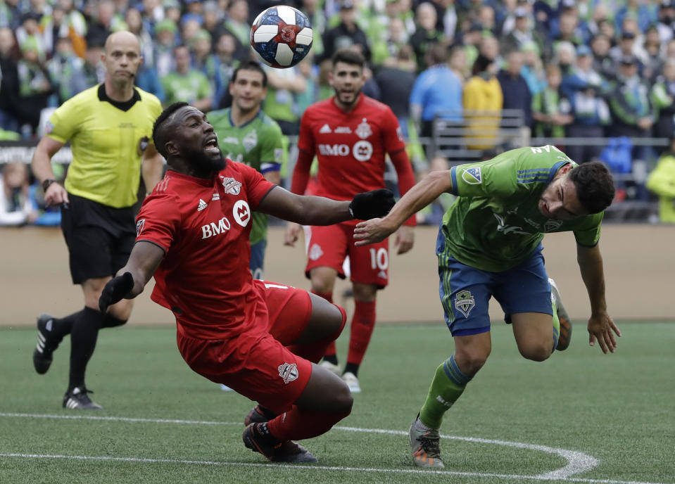 Even the introduction of Jozy Altidore (left) couldn't stop Toronto FC from falling in MLS Cup for the second time in three finals against the Sounders. (AP Photo/Elaine Thompson)