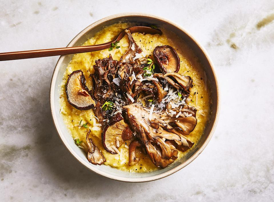 "Call it cheating—we call this no-stir polenta 30 minutes you don't need to spend standing at the stove. And if you're feeling indulgent, top with a little heavy cream mixed with a finely grated small garlic clove. <a href=""https://www.bonappetit.com/recipe/oven-polenta-with-roasted-mushrooms-and-thyme?mbid=synd_yahoo_rss"" rel=""nofollow noopener"" target=""_blank"" data-ylk=""slk:See recipe."" class=""link rapid-noclick-resp"">See recipe.</a>"