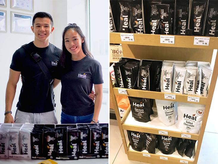 Justin Chan and Phoebe Cheong, co-founders of Heal Nutrition (left). Heal Nutrition product display at a supermarket in Kuala Lumpur (right)