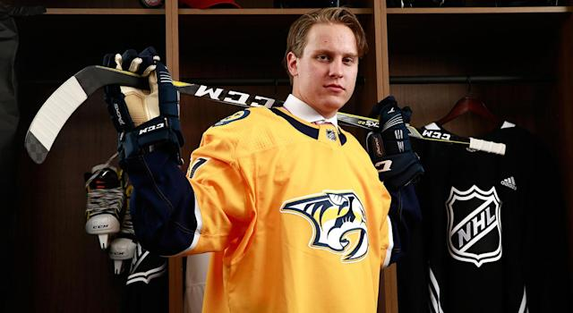 Predators 2017 first-rounder Eeli Tolvanen has had a record-breaking season in the KHL. (Jeff Vinnick/NHLI via Getty Images)