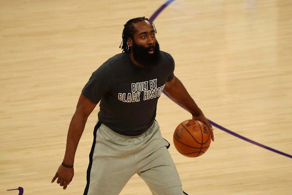 LOS ANGELES, CALIFORNIA - FEBRUARY 18: James Harden #13 of the Brooklyn Nets warms up before the game against the Los Angeles Lakers at Staples Center on February 18, 2021 in Los Angeles, California. NOTE TO USER: User expressly acknowledges and agrees that, by downloading and or using this photograph, User is consenting to the terms and conditions of the Getty Images License Agreement. (Photo by Katelyn Mulcahy/Getty Images)