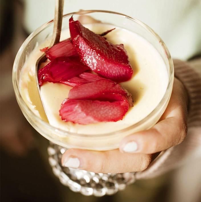 "<p>If mom prefers to keep things healthy, opt for this panna cotta topped with warm, gingery roasted rhubarb for dessert.</p><p><strong><em><a href=""https://www.womansday.com/food-recipes/a36040444/vanilla-panna-cotta-with-roasted-rhubarb-recipe/"" rel=""nofollow noopener"" target=""_blank"" data-ylk=""slk:Get the Vanilla Panna Cotta with Roasted Rhubarb recipe."" class=""link rapid-noclick-resp"">Get the Vanilla Panna Cotta with Roasted Rhubarb recipe.</a></em></strong></p>"